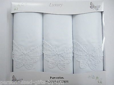3 Ladies Handkerchiefs Gift Boxed Butterfly