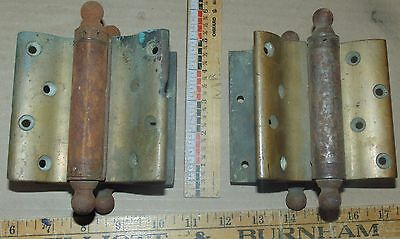 Vintage Pair Brass-Bommer Double Acting Hinges - Round Post Hing