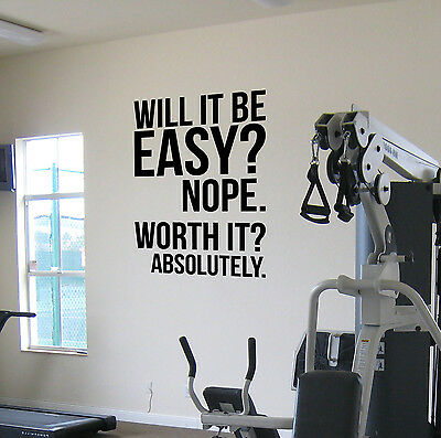 Worth It? Large Gym Motivational Wall Decal Fitness Weight loss Diet Exercise