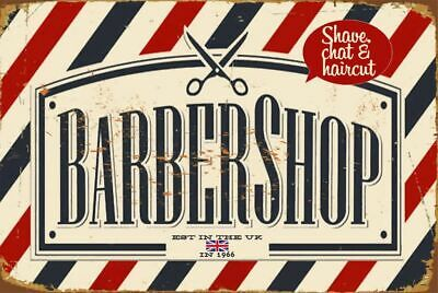 Barber Shop Retro Metal Sign Wall Plaque Gift 15X20CM Red & Blue