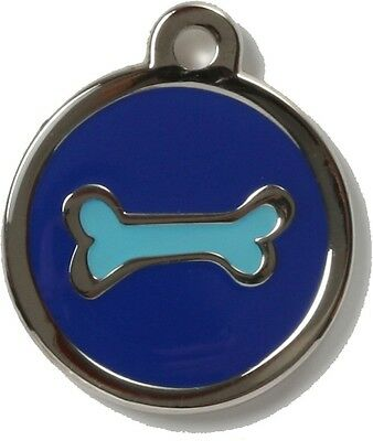 Bow Wow Pet Tag Dog Cat ID Laser Engraved - Blue Bone