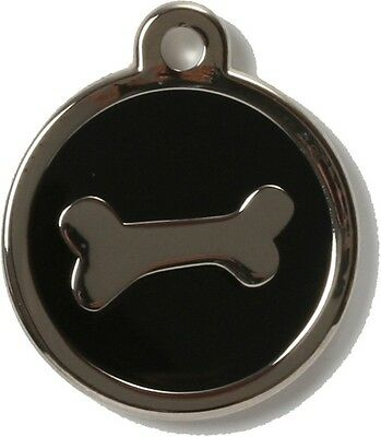 Bow Wow Pet Tag Dog Cat ID Laser Engraved - Black Bone