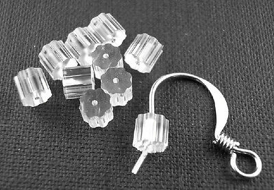 30 SOFT CLEAR RUBBER EARRING BACK STOPPERS 3mm x 3mm