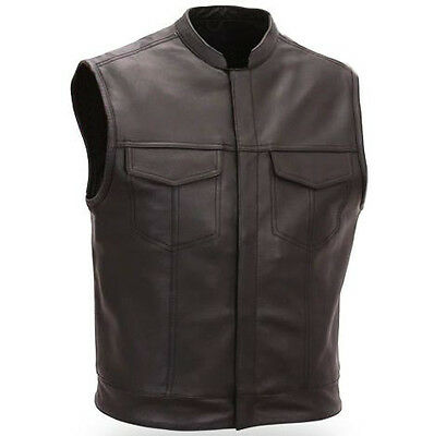 Motorcycle Motorbike Cut Off Vest Chrome Leather Bikers Sons of Anarchy Style