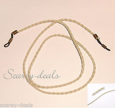 "28""  3mm ivory Beige Leather Braided glasses spectacles holder neck strap cords"