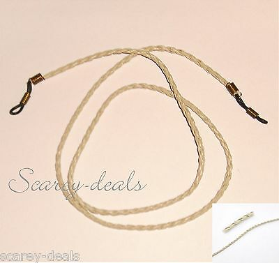 3mm  ivory Beige Leather Braided glasses spectacles holders neck strap cords 28""