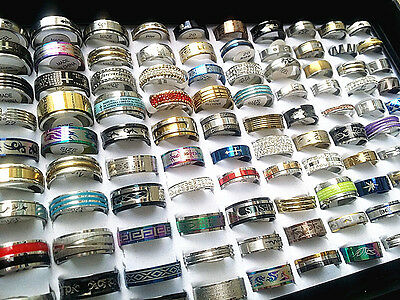 wholesale 100pcs mixed lot men's women's stainless steel fashion rings brand new