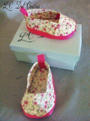 Pink Floral Slip-On Shoes for 18 inch doll American Girl by lcdollcreations