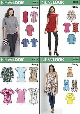 New Look Sewing Pattern Women S Misses Pullover Tops Blouses Button