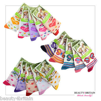 6 PAIRS x GIRL SOCKS COTTON RICH 95% 3 SIZES MIXED DIFFERENT DESIGNS FROM UK