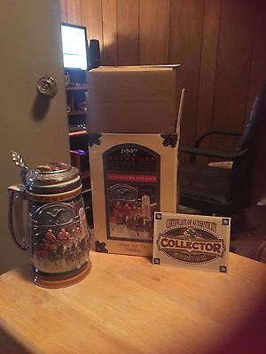 "1997 Budweiser Holiday Stein "" Home For The Holidays"""