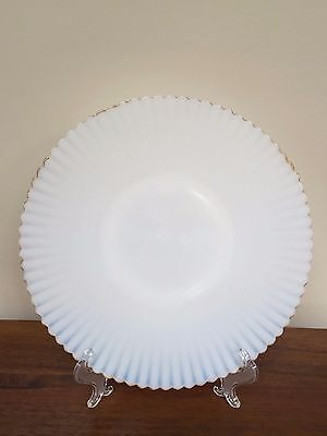 "MacBeth Evans PETALWARE Monax White with Gold Trim 10 ¾"" Cake Plate"