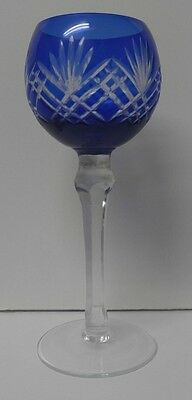 COBALT BLUE Wine Goblet Glass Hock CUT TO CLEAR CRYSTAL Lausitzer Glas GERMANY
