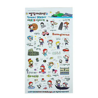 6 Sheets Cute Red Hair Girl Travel Diary Scrapbook Decoration Photo Stickers  S*