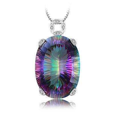 42ct Genuine Fire Rainbow Coated Quartz Pendent Necklace16in 925 Sterling Silver