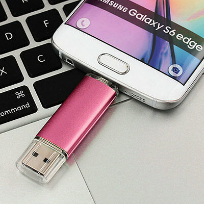 8G Dual 2 in 1 USB USB 2.0 Flash Memory Stick Drive U Disk For Phones PC  Red CR