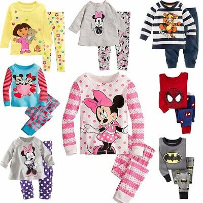 Cartoon Batman Kids Boys Girls Nightwear Pajamas Pyjamas Sleepwear Suit