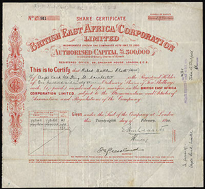 British East Africa Corporation, 10/- ordinary shares, 1/- paid, 1920