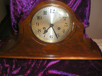 8 day MAHOGANY CASED STRIKING MANTEL CLOCK FULLY SERVICED VGC