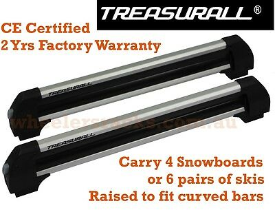 Treasurall Snowboard Ski Fishing Rod Carrier for Roof Racks Cross Bars
