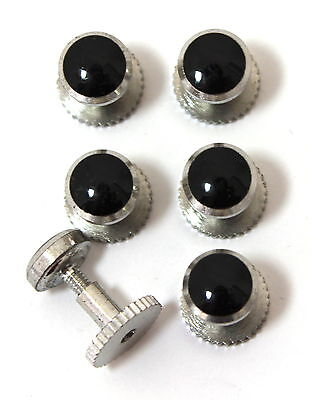 Dress Shirt Studs Set of Six Silver Colour and Black in Gift Box - Screw Down