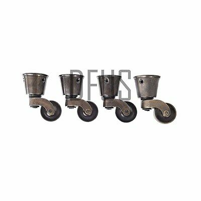 "4x 1"" 25mm Solid Brass Cup fitting castor Aged Antiqued finish furniture castors"