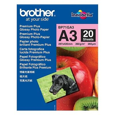 Brother A3 Glossy Photo Paper 260Gsm - 20 Sheets - Bp71Ga3