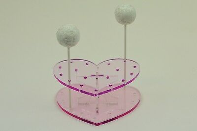 Cake Pop / Lollipop Stand - Heart Shape - Translucent Pink - BPS0036