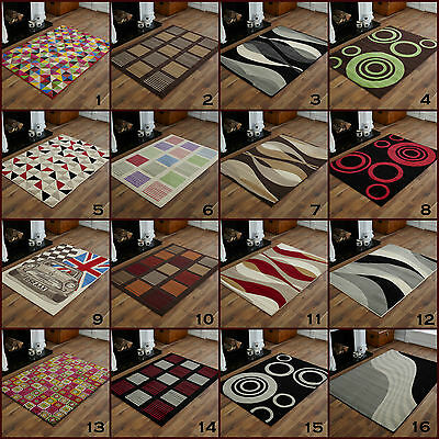 Medium Modern High Quality Red Black Green Alpha Design Best Clearance Rugs