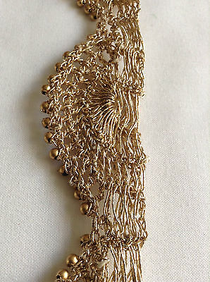Vintage Indian Gold Lace Edge Trim Wedding Bridal Ribbon Beaded Sewing Craft 1M