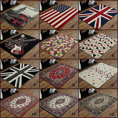 Large Extra Large Modern Alpha Black Red Multi Colour Clearance Budget Rugs