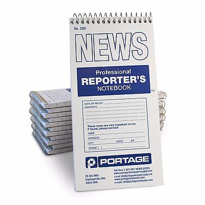 """Portage 200 Reporter's Notebook Gregg Ruled,  4""""x8"""", 70 Sheets  (12 Pack)"""