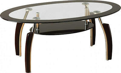 Coffee Table Glass Black Clear Occasional Reception Table Chrome Legs Elena