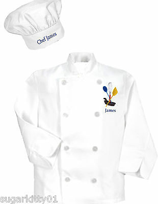 Personalized Child's Size Boy's White Long Sleeve Chef's Coat & Hat  Free Ship