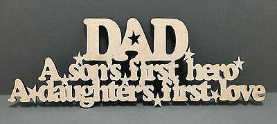 S120 Dad Fathers Day Gift Craft Shape MDF Plaque Sign Laser Cut Wooden Heart