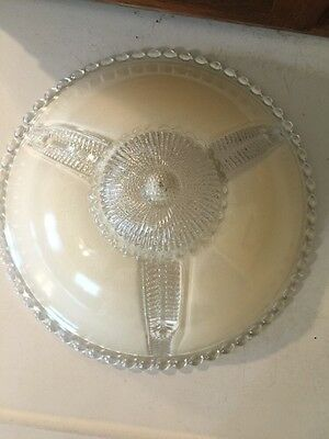 """1930s Art Nouveau Light Cover With Three Holes  11"""" X 4"""" Approx."""
