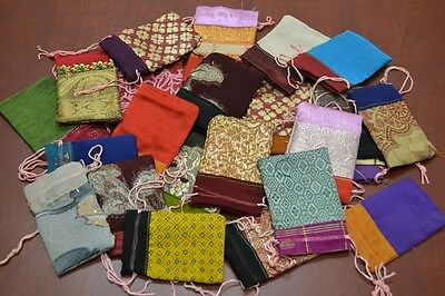 "12 PCS HANDMADE DRAWSTRING JEWELRY GIFT POUCHES BAGS 2"" x 3"" #8010"