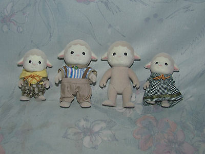 Calico Critters White Sheep/Lamb Family of 4 - 2 Adults, 2 Kids