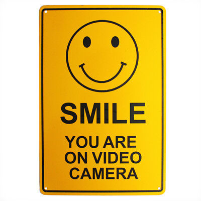 SURVEILLANCE SIGN SMILE You're on VIDEO CAMERA CCTV 200x300mm Metal 16003006