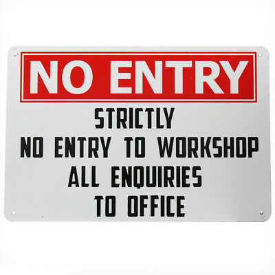 WARNING SECURITY SIGN NO ENTRY workshop enquires office 200x300mm Metal Outdoor