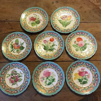 Coalport HB 12 Piece Painted Porcelain Part Dessert Service 19th Century