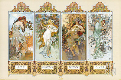 The Four Seasons Poster Print by Alphonse Mucha, 36x24