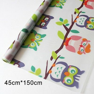 1.5M Lovely Owls Static Reusable Removable Privacy Frosted Window Glass Film