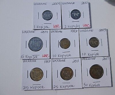 UKRAINE  8 coins, 1992-2014, circulated-uncirculated, carded