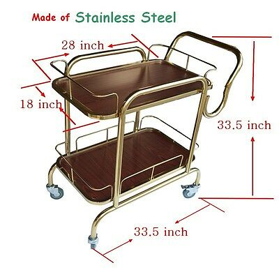 Golden 2-Shelf Serving Cart Trolley Bar Wine Restaurant Hotel 4 Casters Utility