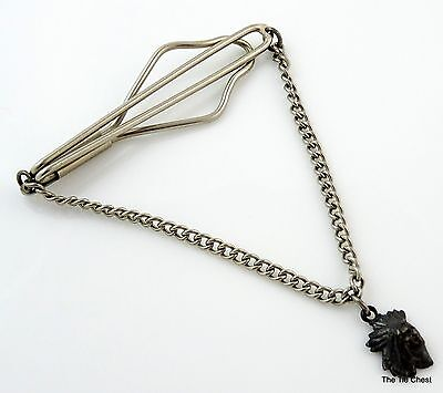 Vintage 1930s 40s Tie Chain Silver Tone with Chief Pendant