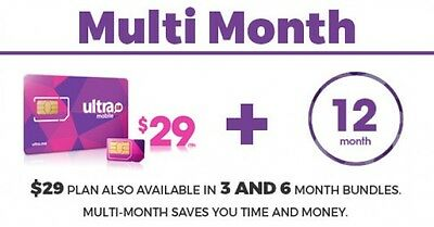 Ultra Mobile $29 Multi-Month Plan for 12 Months with Triple punch SIM Card