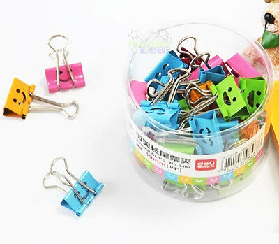 Cute 40pcs Metal Home Office Student Documents Papers Binder Clips 19mm Width