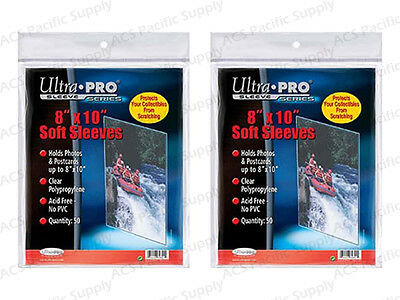 100 ULTRA PRO 8x10 SOFT SLEEVES Premium Photo Document New Free Shipping