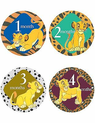 "Lion King Simba Baby Stickers NEW 12 months + Newborn 4"" circle FREE SHIPPING"